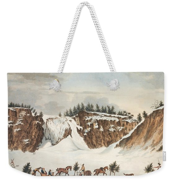 A Winter View Of The Falls Of Montmorenci Weekender Tote Bag