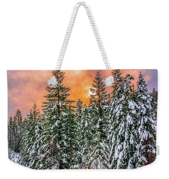 A Winters Sky Set Ablaze Weekender Tote Bag