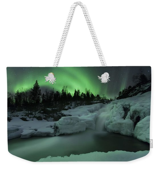 A Wintery Waterfall And Aurora Borealis Weekender Tote Bag