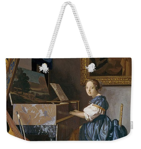 A Young Lady Seated At A Virginal Weekender Tote Bag