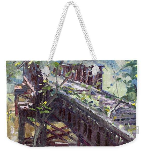 Abandoned Railroad Bridge In Tonawanda Weekender Tote Bag