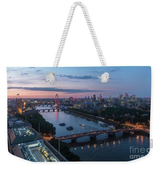 Above London Along The Thames At Dusk Weekender Tote Bag