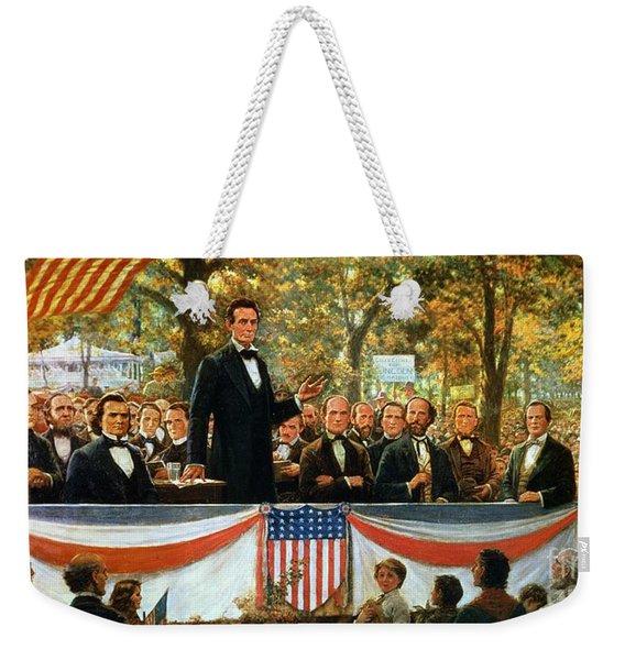 Abraham Lincoln And Stephen A Douglas Debating At Charleston Weekender Tote Bag