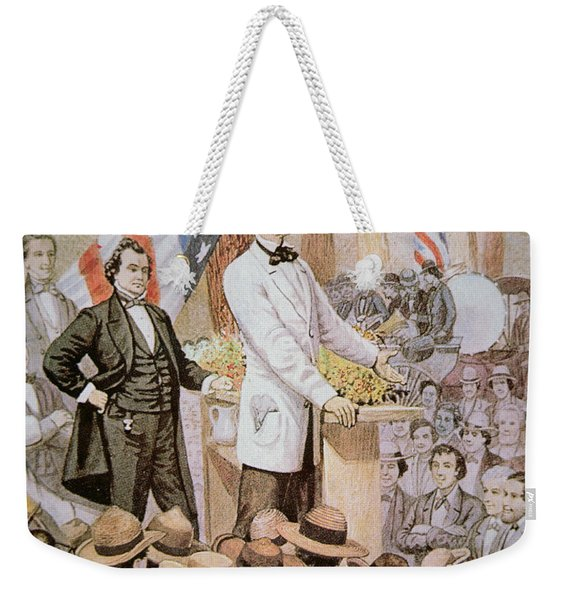 Abraham Lincoln In Public Debate With Stephen A Douglas In Illinois, 1858  Weekender Tote Bag
