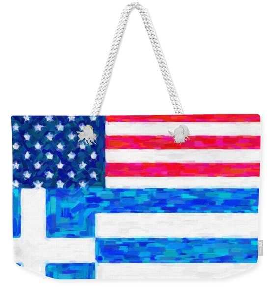 Abstract American Greek Flag Weekender Tote Bag