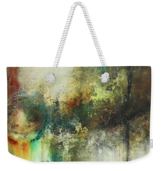 Abstract Art With Blue Green And Warm Tones Weekender Tote Bag