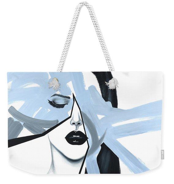 Abstract Blue Woman Portrait Weekender Tote Bag