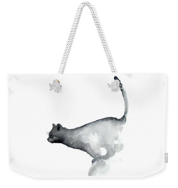 Abstract Cat Watercolor Painting, Grumpy Cat Lover Gift  Weekender Tote Bag