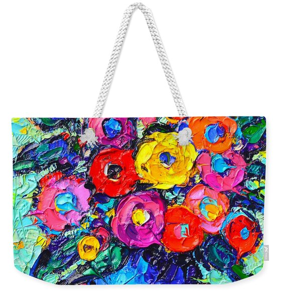 Abstract Colorful Wild Roses Modern Impressionist Palette Knife Oil Painting By Ana Maria Edulescu  Weekender Tote Bag