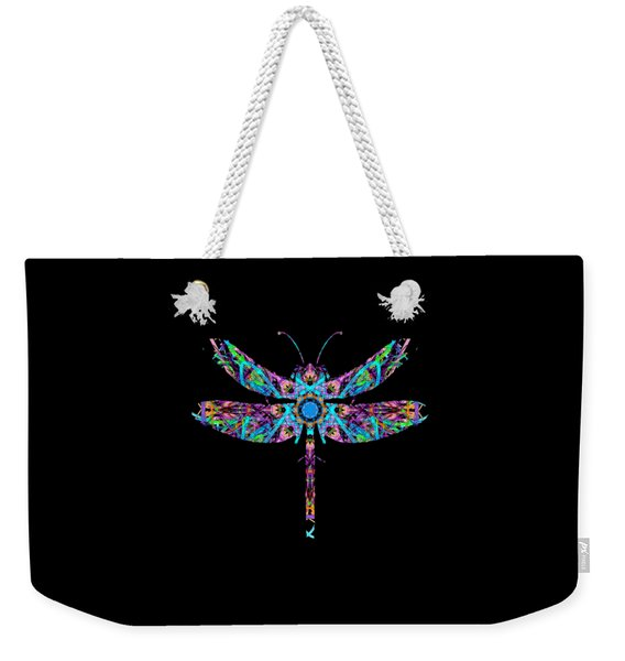 Weekender Tote Bag featuring the digital art Abstract Dragonfly by Deleas Kilgore