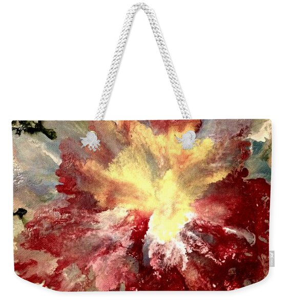 Weekender Tote Bag featuring the painting Abstract Flower by Denise Tomasura