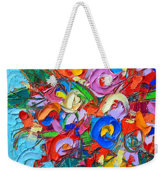 Abstract Flowers Floral Miniature Modern Impressionist Palette Knife Oil Painting Ana Maria Edulescu Weekender Tote Bag