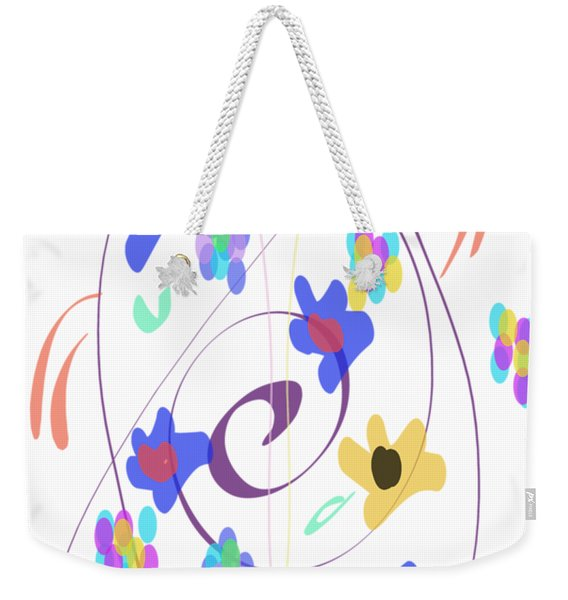 Weekender Tote Bag featuring the digital art Abstract Garden Nr 7 Naif Style by Bee-Bee Deigner