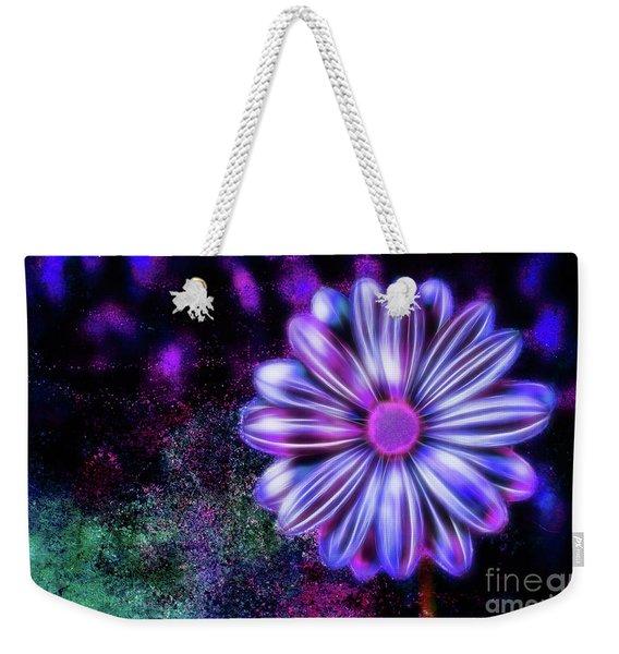 Abstract Glowing Purple And Blue Flower Weekender Tote Bag