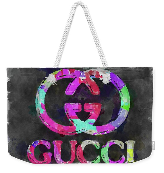 Abstract Gucci Logo Watercolor Weekender Tote Bag