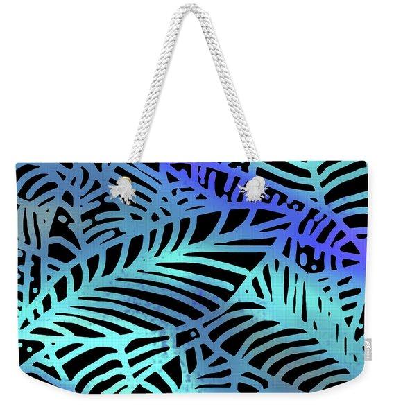 Abstract Leaves Black Aqua Weekender Tote Bag