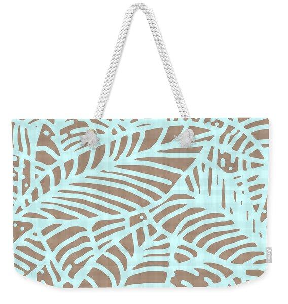 Abstract Leaves Warm Taupe Aqua Weekender Tote Bag