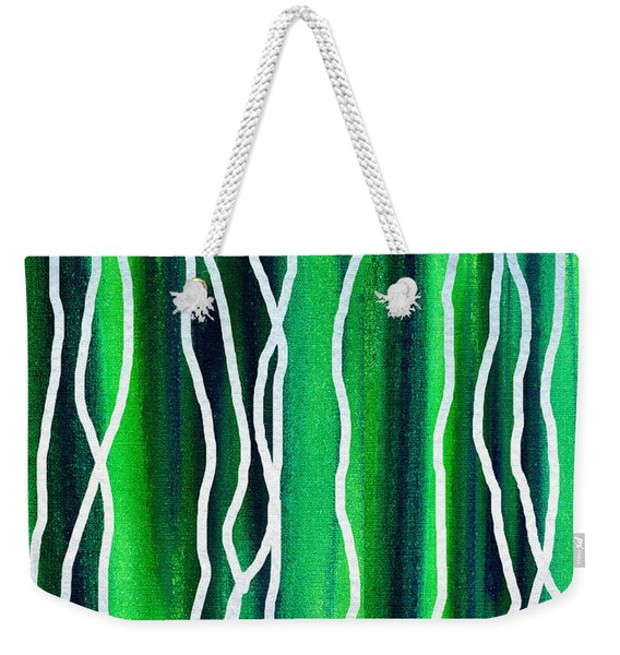Abstract Lines On Green Weekender Tote Bag