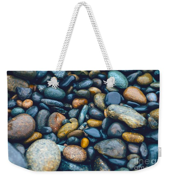 Abstract Nature Tropical Beach Pebbles 923 Blue Weekender Tote Bag