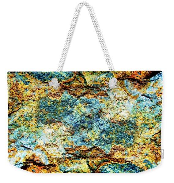 Abstract Nature Tropical Beach Rock Blue Yellow And Orange Macro Photo 472 Weekender Tote Bag