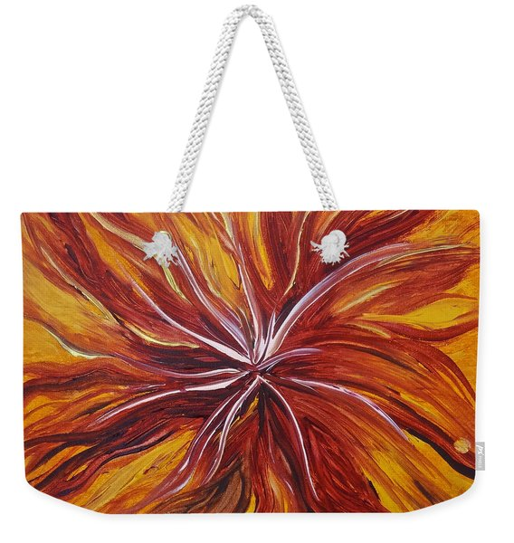 Abstract Orange Flower Weekender Tote Bag
