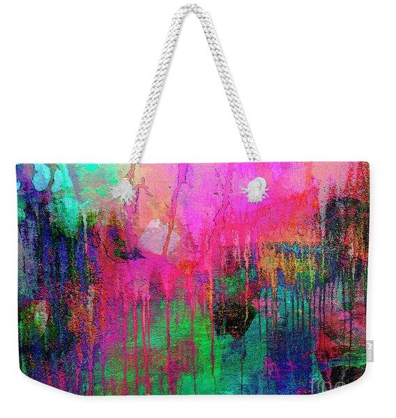 Abstract Painting 621 Pink Green Orange Blue Weekender Tote Bag