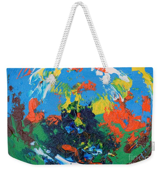Weekender Tote Bag featuring the painting Abstract Painting R1115a by Mas Art Studio