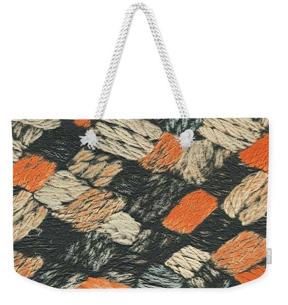 Abstract Pattern Black And Orange Weekender Tote Bag