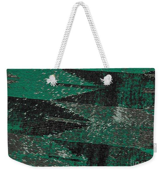 Abstract Pattern No.11 Green And Black Weekender Tote Bag