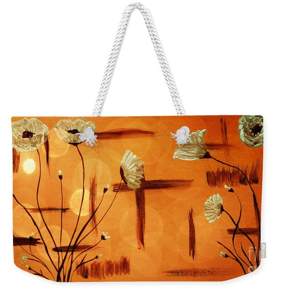 Weekender Tote Bag featuring the painting Expressive Abstract Floral A42016 by Mas Art Studio