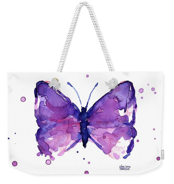 Abstract Purple Butterfly Watercolor Weekender Tote Bag
