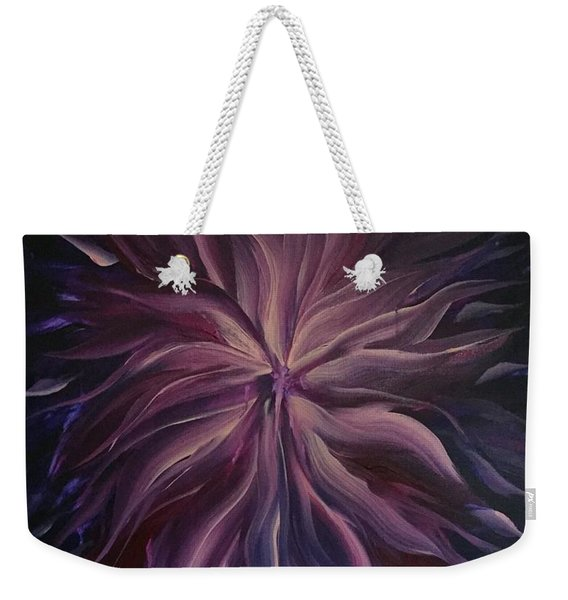 Abstract Purple Flower Weekender Tote Bag