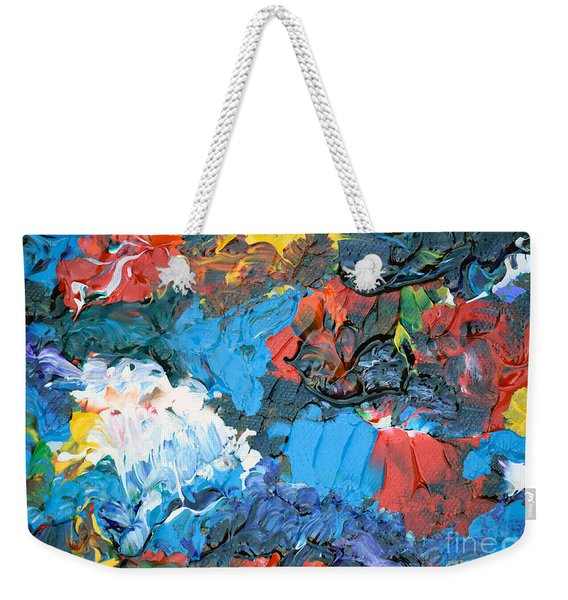 Weekender Tote Bag featuring the painting Abstract Q1112a  by Mas Art Studio