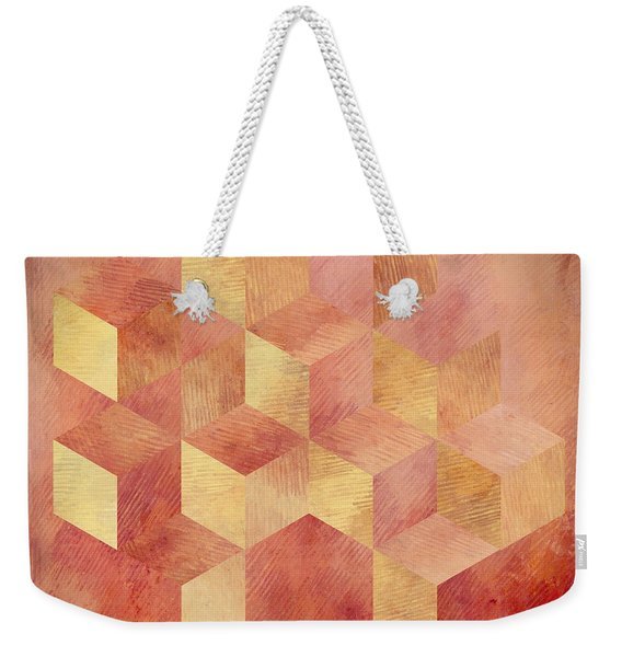 Abstract Red And Gold Geometric Cubes Weekender Tote Bag