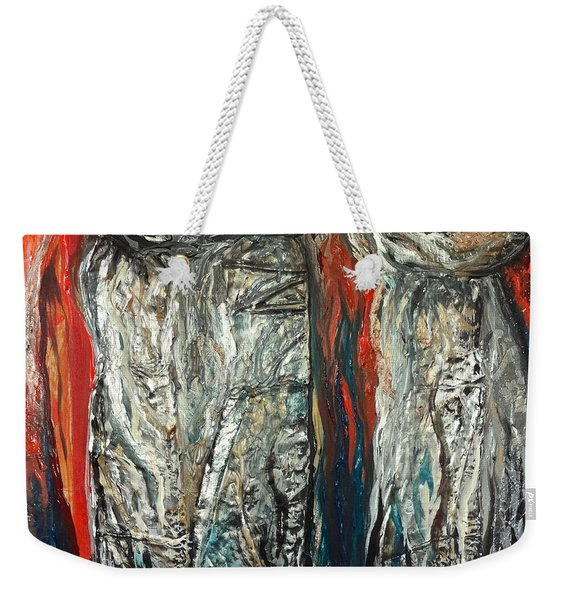 Abstract Red And Silver Latte Stones Weekender Tote Bag