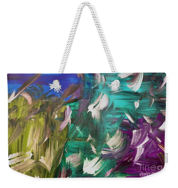 Weekender Tote Bag featuring the painting Abstract Series E1015bl by Mas Art Studio