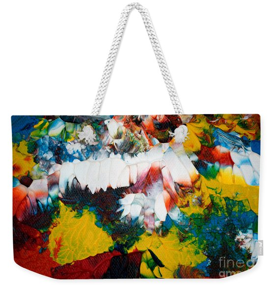 Weekender Tote Bag featuring the painting Abstract U1112a by Mas Art Studio