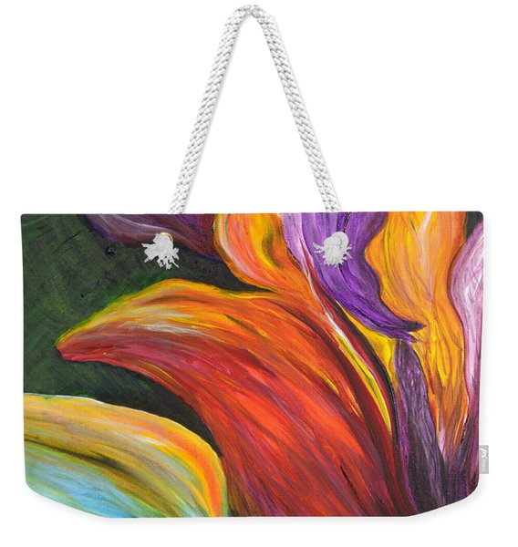 Abstract Vibrant Flowers Weekender Tote Bag