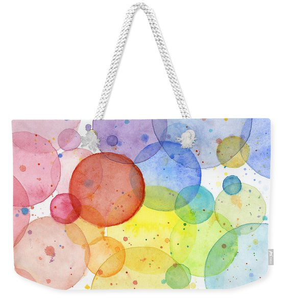 Abstract Watercolor Rainbow Circles Weekender Tote Bag