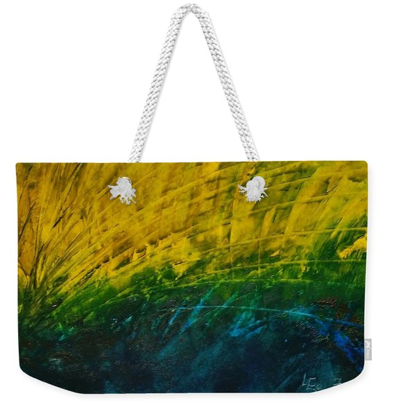 Abstract Yellow, Green With Dark Blue.   Weekender Tote Bag