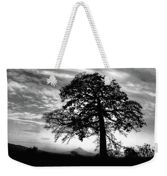 Weekender Tote Bag featuring the photograph Acacia And Volcano Silhouetted by Wayne King