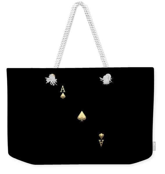 Ace Of Spades In Gold On Black   Weekender Tote Bag