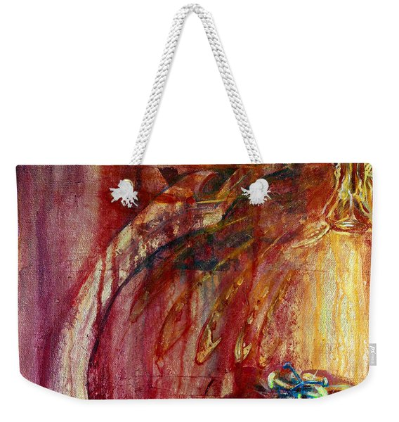 Weekender Tote Bag featuring the painting Ace Of Swords by Ashley Kujan