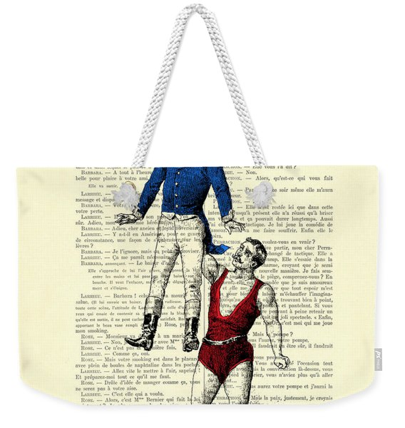 Circus Acrobats In Red And Blue Dictionary Art Print Weekender Tote Bag