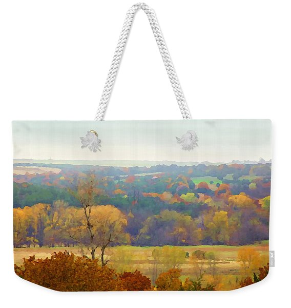 Across The River In Autumn Weekender Tote Bag