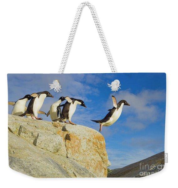 Adelie Penguins Jumping Weekender Tote Bag