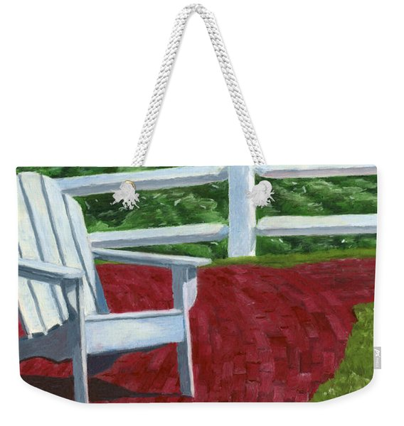 Weekender Tote Bag featuring the drawing Adirondack Chair On Cape Cod by Dominic White