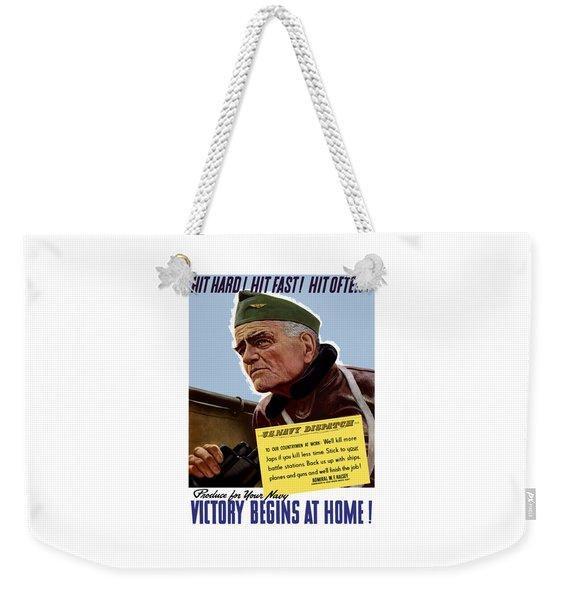 Admiral William Bull Halsey -- Ww2 Propaganda  Weekender Tote Bag
