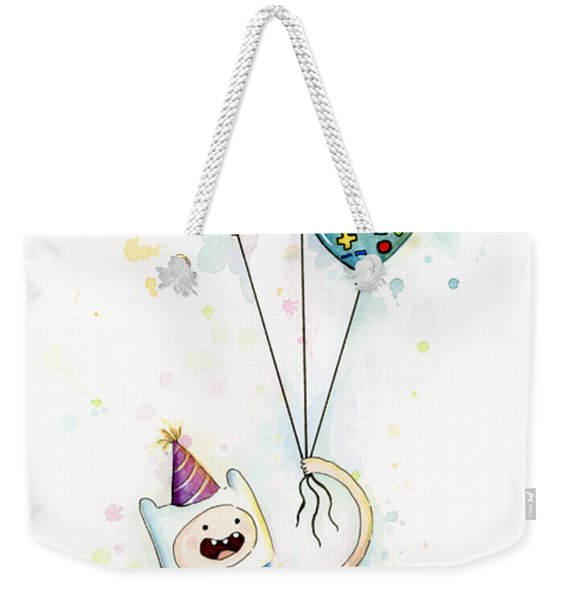 Adventure Time Finn With Birthday Balloons Jake Princess Bubblegum Bmo Weekender Tote Bag
