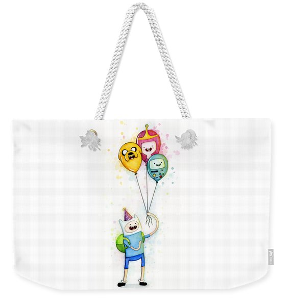 Adventure Time Finn With Birthday Balloons Jake Princess Bubblegum Bmo Weekender Tote Bag